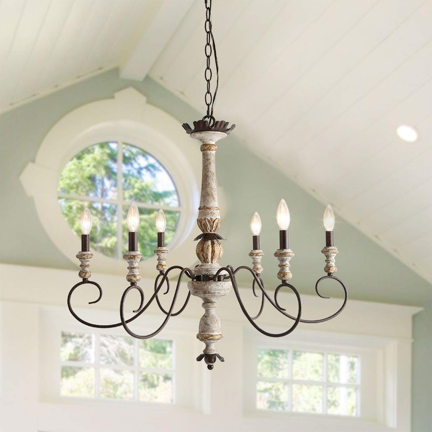 """LALUZ 6 Lights French Country Shabby Chic Chandelier with Cloud Arms in Distressed Wood and Rusty Metal Finish, 31.1"""" Large Living Room Pendant Light Fixture, A03482"""