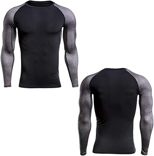 Men/'s Fitness Athletic Shirt Dry fit Compression Top Long Sleeve Activewear Gray