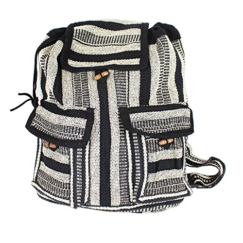 Hippy Black White Cotton Two Backpacks Pocket Nepalese amp; Handwoven Style wWqxIaRSUB