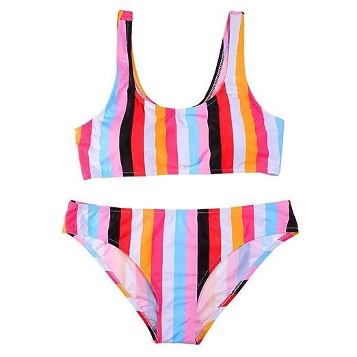 c6f532d83d82c Amazon.com  Padory Women Two-Piece Low Waist Sexy Swimwear Rainbow Striped  Printed Padded Push-up Bikini  Clothing
