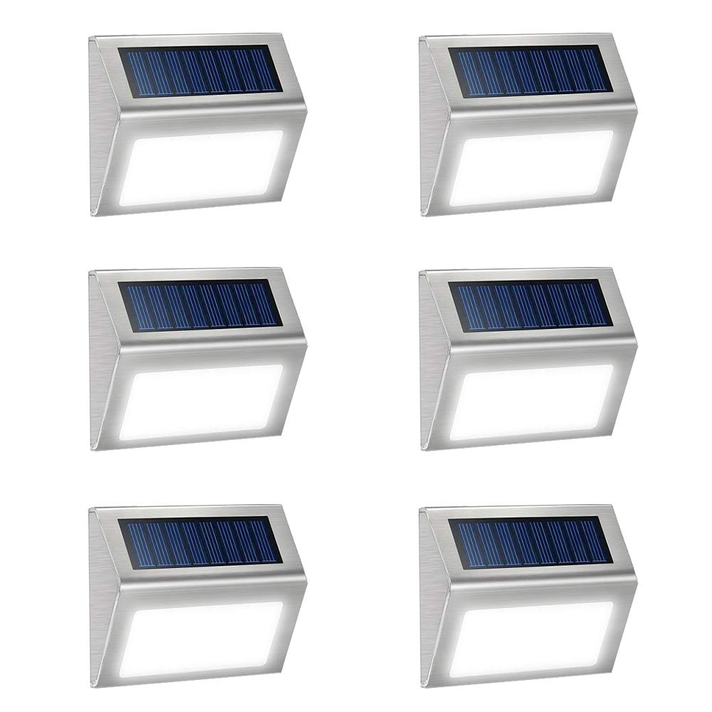 JSOT 6 Pack Solar Deck Lights Bright 3 LED Stair Lights Auto On/Off Waterproof Stainless Steel Step Lights Outdoor Solar Lamp for Patio Walkway Garden Fences Pathway Wall Paths (White Light) by JSOT