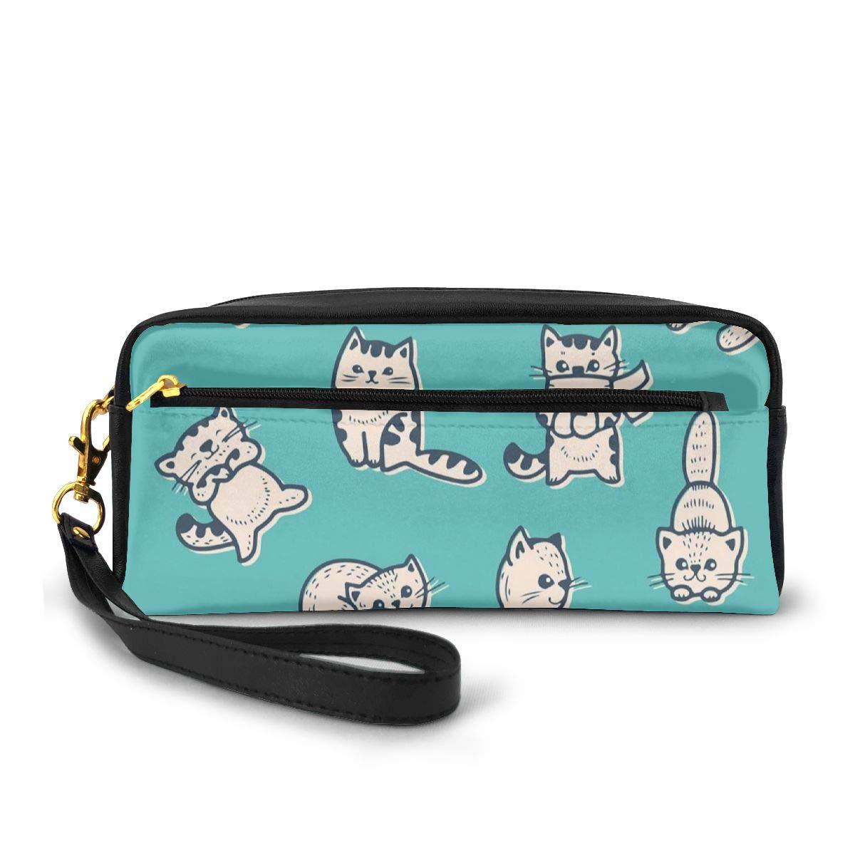 Pencil Case Pen Bag Pouch Stationary,Cute Kitties In Various Gestures Sleeping Playful Babyish Cat Animal Illustration,Small Makeup Bag Coin Purse
