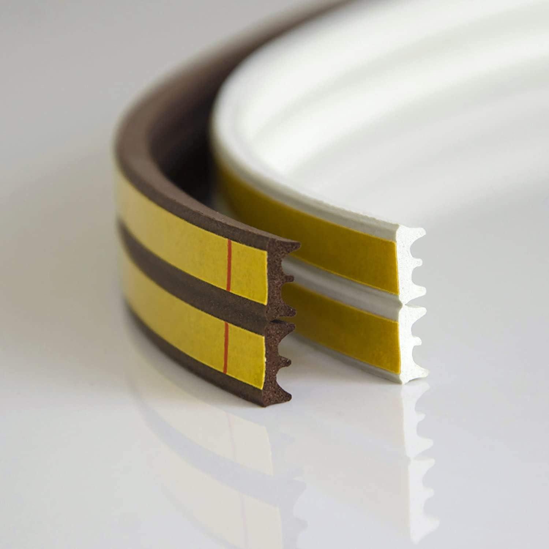 5m GUMMIDICHTUNG D-Profil BRAUN 9mm selbstklebend Fensterdichtung T/ürdichtung Gummi Dichtung Dichtungsband Profildichtung