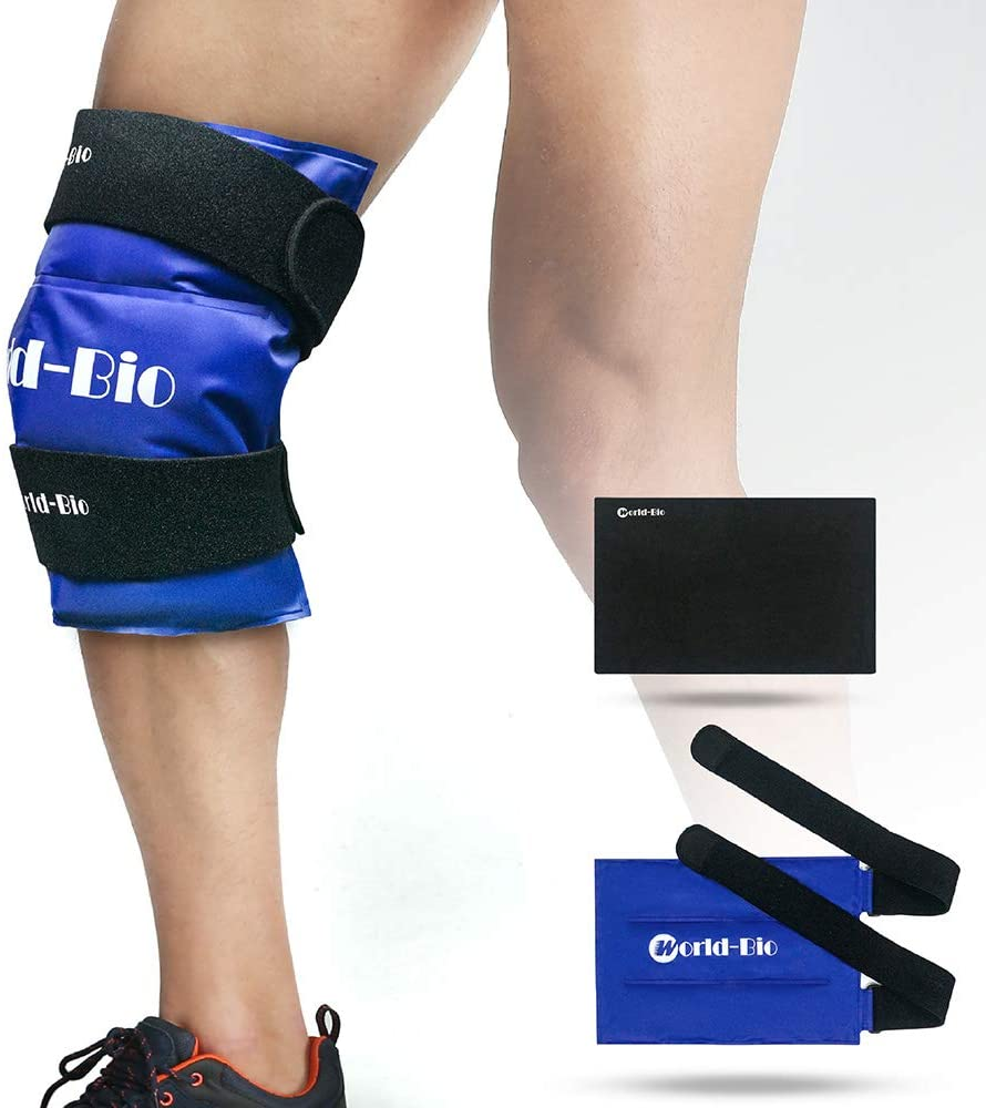 WORLD-BIO Knee Ice Gel Pack Wrap for Injuries, Reusable Cold Hot Therapy for Leg Thigh Shin Elbow Pain, 2 Elastic Neoprene Straps & Medical Freezable Compression Pad Support for Post Surgery Recovery