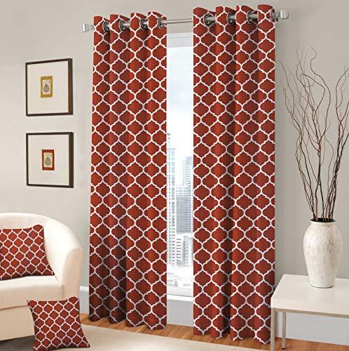 TreeWool Decorative Grommet Curtain Panel Drape Trellis Accent for Living Room Bedroom Window Treatment (Set of 2 Panels, 48