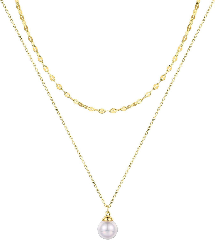 T400 - Collar de plata de ley 925 bañado en oro con colgante de perla, regalo para mujer con cadena doble