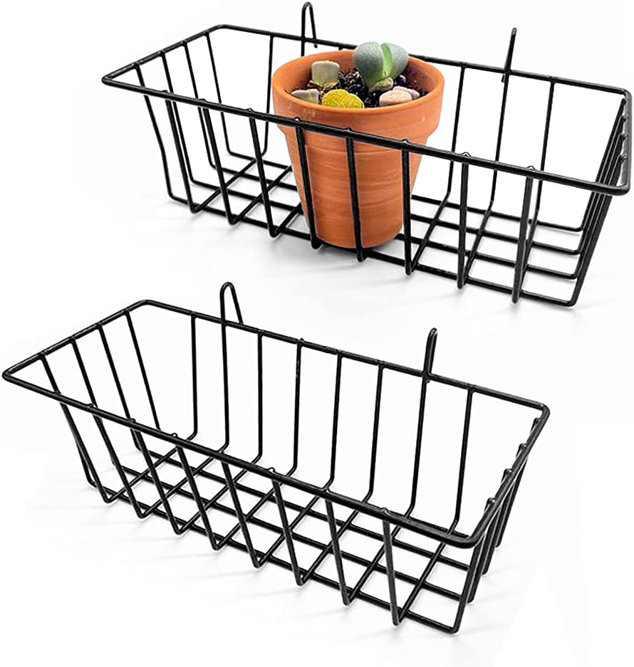 2 Pcs Hanging Wire Basket Wall Grid Panel,Grid Wall Storage Basket,Wire Wall Baskets Shelves for Kitchen,Home Decor Supplies,Black
