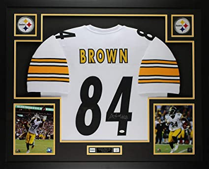 643e631b7 Antonio Brown Autographed Signed   Framed White Steelers Jersey (Size XL)  Auto - JSA