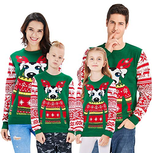 Xmas Present Boys Girls Kid Family Dog Graphics Crew-Neck Ugly Christmas Sweater Cute Oversized Pullovers Top Slim Fit Costume for Teenager 14 13 yrs