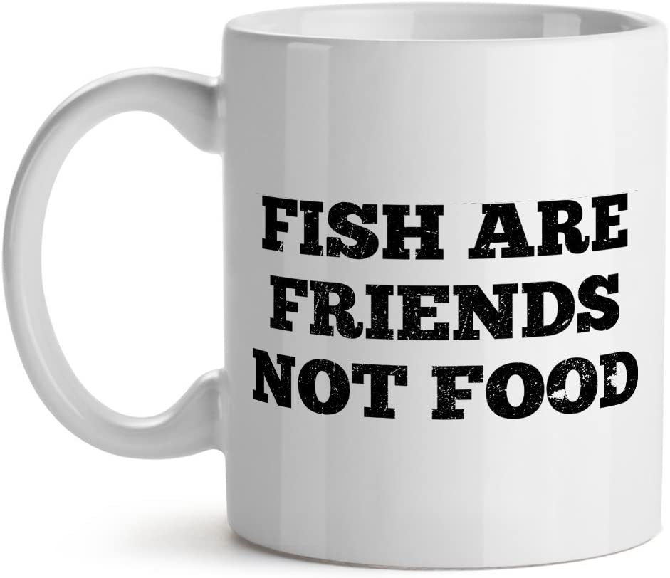 Fish Are Friends Not Foods Vegan Quote - Mad Over Mugs - Inspirational Unique Popular Office Humor Tea Coffee Cup Mug 15OZ
