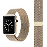 FARSIC 38mm Apple Watch Band - Magnet Lock, No Buckle Needed, Soft, Smooth - Stainless Steel Link Bracelet Strap Replacement Wrist Band - Gold ""
