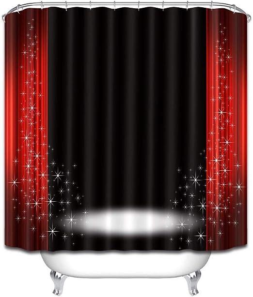 LB Fond de scène Rideaux de Douche avec Crochets Noir Rouge Rideaux de Bain  Résistant à l\'eau Tissu Polyester Anti Moule Décor de Salle de ...
