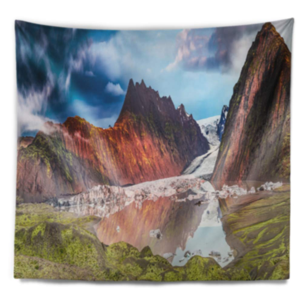 Created On Lightweight Polyester Fabric Designart TAP11053-80-68  Glacier and Lake at Sunrise Panorama Seashore Blanket D/écor Art for Home and Office Wall Tapestry x Large x 68 in 80 in
