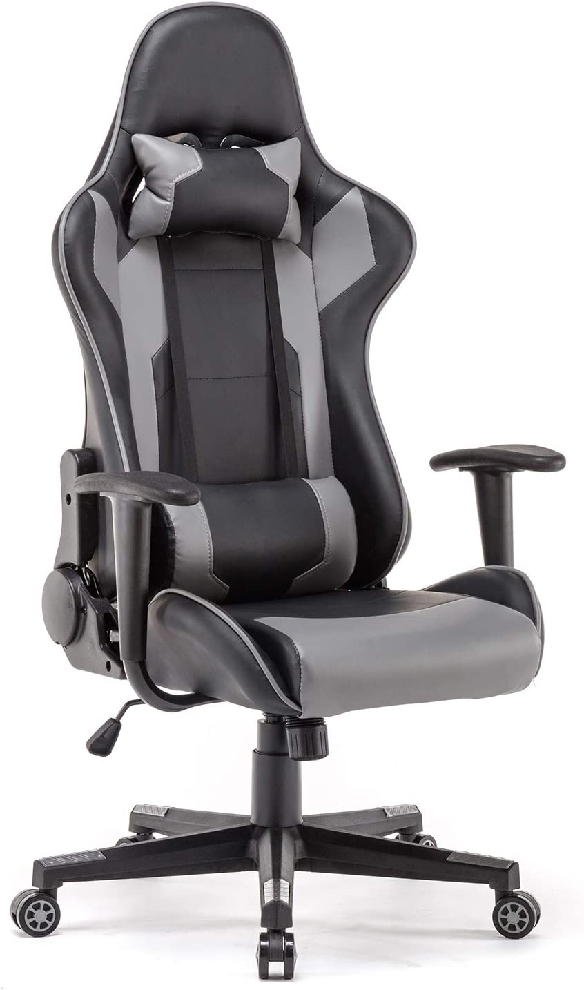 Polar Aurora Gaming Chair Racing Style High-Back PU Leather Office Chair Computer Desk Chair Executive Ergonomic Style Swivel Chair Headrest Lumbar Support Black