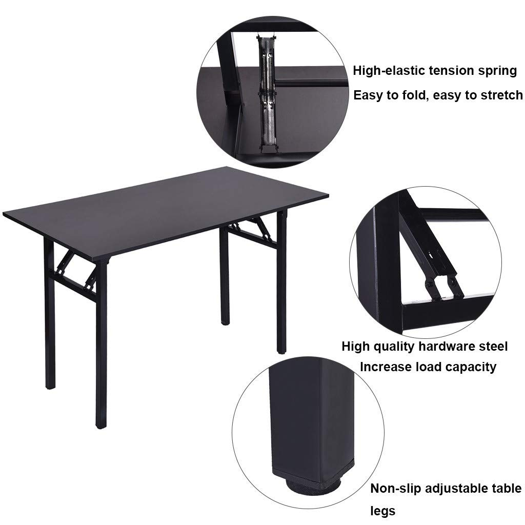 Joysale Computer Desk Office Desk Folding Table Computer Table Workstation Wine