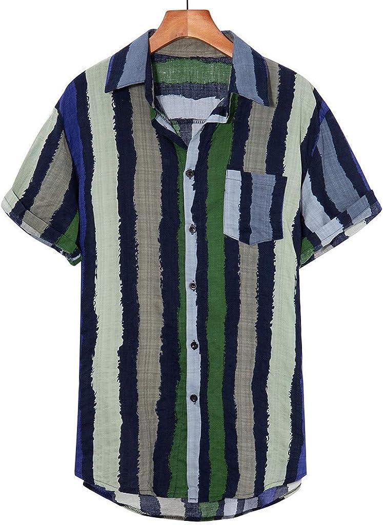 ღLILICATღ Moda Solapa Camisa de Algodón de Manga Corta a Rayas ...