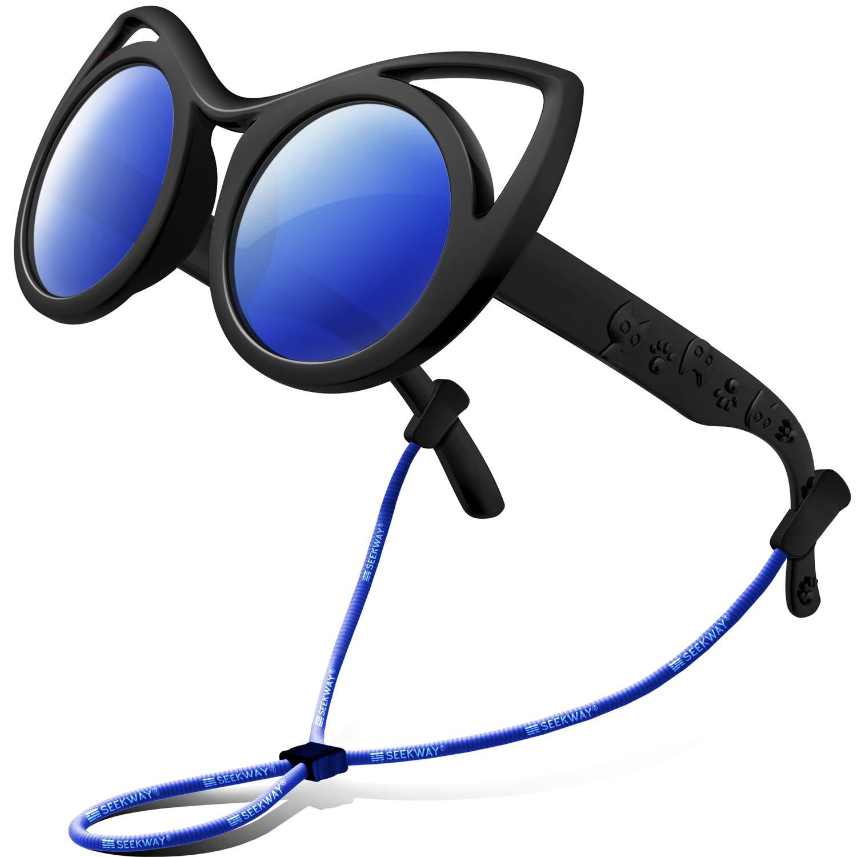 SEEKWAY Polarized Kids Sunglasses For Boys Girls Child Rubber Flexible frame Age 3+ SRK8122(Black&Black,Blue Iced Lens)