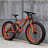 NENGGE Mountain Bikes, 26 Inch Fat Tire Hardtail Mountain Bike, Dual Suspension Frame and Suspension Fork All Terrain…