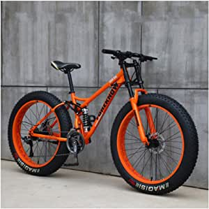 NENGGE Mountain Bikes, 26 Inch Fat Tire Hardtail Mountain Bike, Dual Suspension Frame and Suspension Fork All Terrain Mountain Bike,7 Speed,Orange Spoke