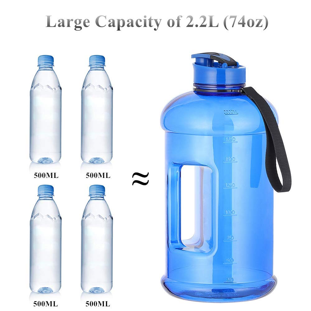 Terby Half Gallon Water Bottle Large Capacity Sports Water Jug with Portable Handle for Gym Camping Hiking Jogging Bicycling Fitness Yoga BPA Free and Leakproof