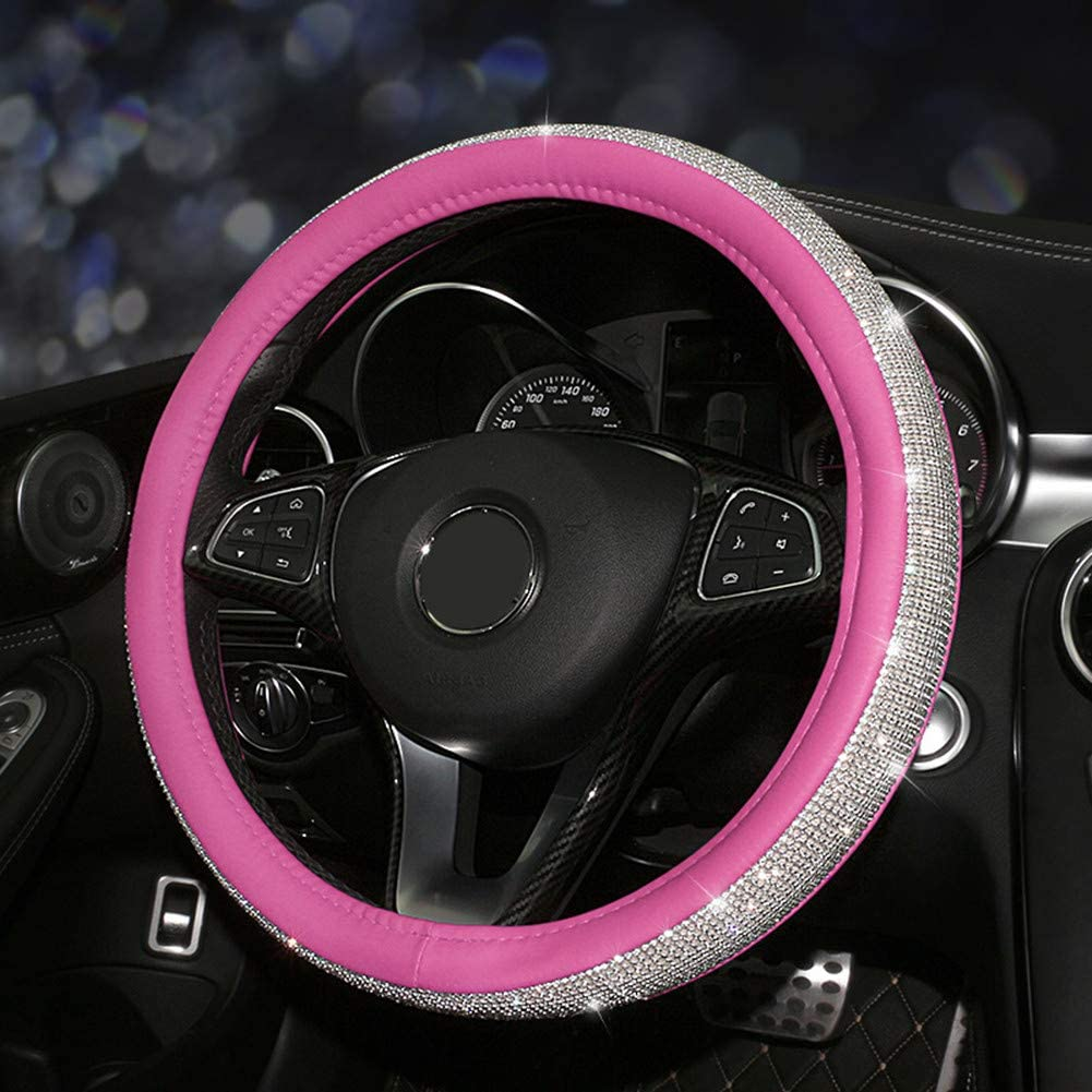 KAFEEK for Women Girls Diamond Leather Steering Wheel Cover with Bling Bling Crystal Rhinestones, Universal 15 inch Anti-Slip, Pink Microfiber Leather White Diamond
