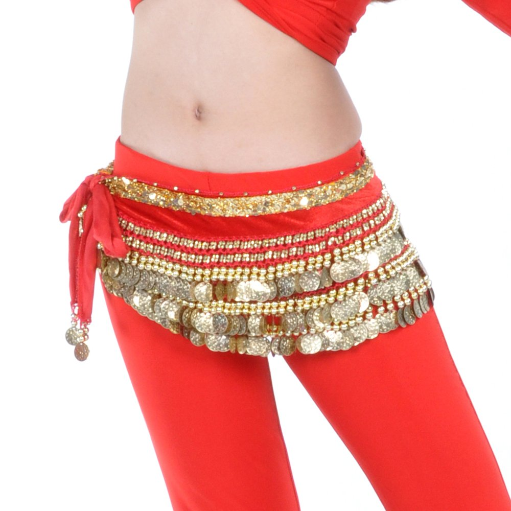 BellyLady Multi-Row Gold Coins Belly Dance Skirt Wrap & Hip Scarf, Gift Idea-Black BDSH-DK16104_BLACK