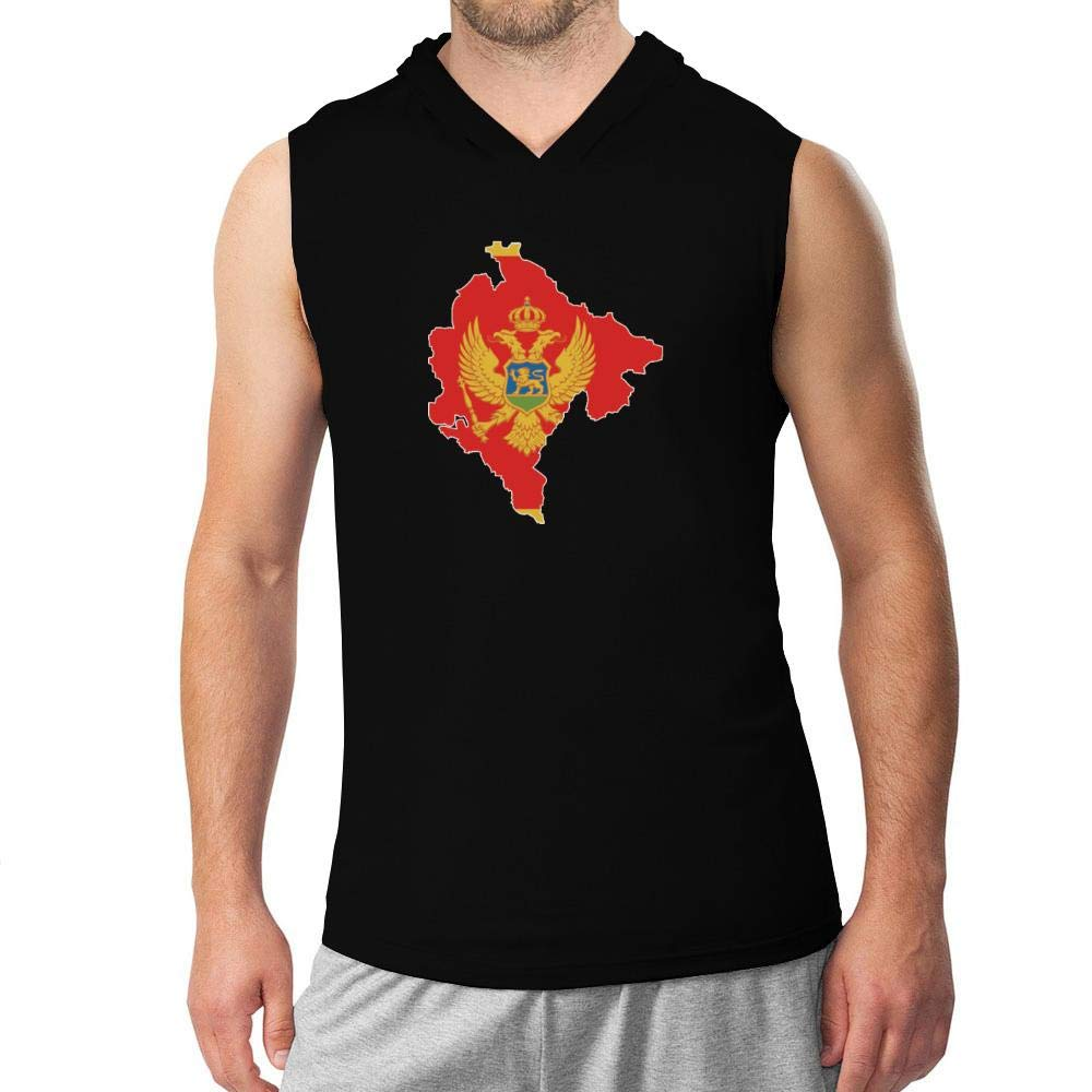 Idakoos Montenegro Country Map Color Simple Hooded Sleeveless T-Shirt