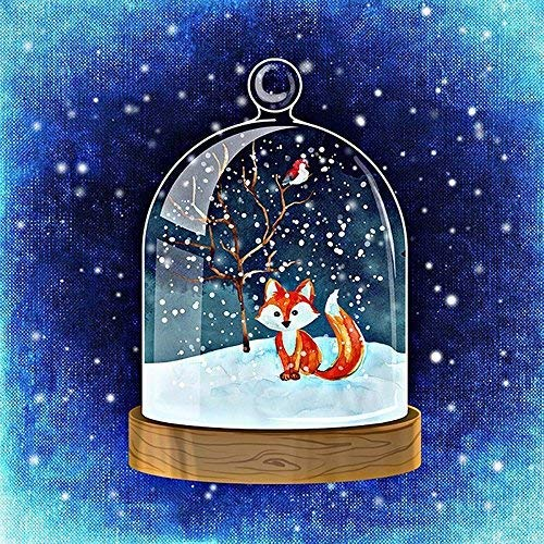 - zhui star DIY Round Diamond Painting Kits for Adults Full Drill Cross Stitch Gift Fox and Bird in The Snow vase Home Decoration 30x30CM