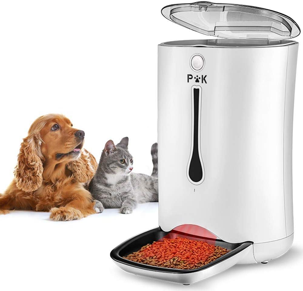 PUPPY KITTY 7L Comedero Automático para Perros y Gatos, Alimentador automático con Temporizador con hasta 4 Comidas al día, Pantalla LCD y función de grabación de Sonido (Blanco).
