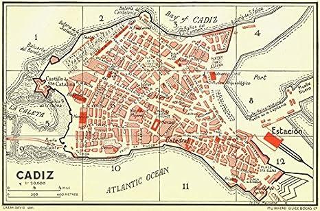 España. Cádiz – 1929 – mapa antiguo – diseño de mapa antiguo ...