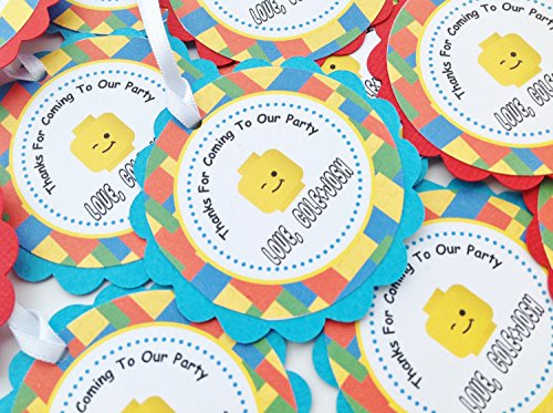 12 - Favor Tags - Lego Inspired Happy Birthday Collection - Yellow Red Blue Green Building Block background - Party Pack (Party City Lego Decorations)