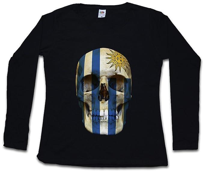 Classic Uruguay Skull Flag Mujer Woman T-Shirt DE Manga Larga - Bandera cráneo Schädel
