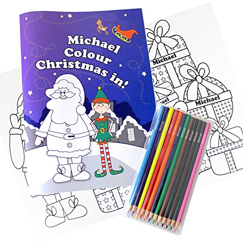 """It's Christmas"" Elf Personalised Coloring Set, Colouring Books, Gift Ideas for Children, Christmas Gifts Kiddiewinkle Gifts"