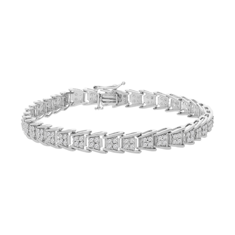 Sterling Silver Round Cut Diamond Fan-Shaped Bracelet (2.00 cttw, I-J Color, I2-I3 Clarity)