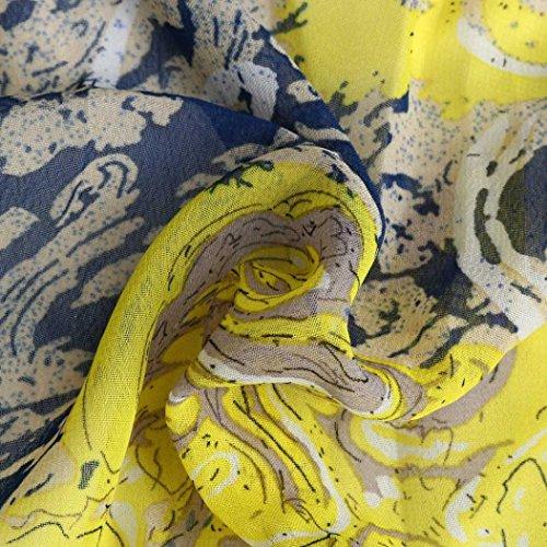 Bsgsh Sans Manches Imprimé Floral Femmes Longues Robes De Plage Fête Maxi Jaune