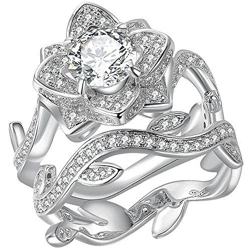 Sterling Silver Plated Rose Flower Leaf Shape Ring Round Cut CZ Diamond Bridal Wedding Band Set Size 10 (Sterling Silver Delicate Flower Ring)