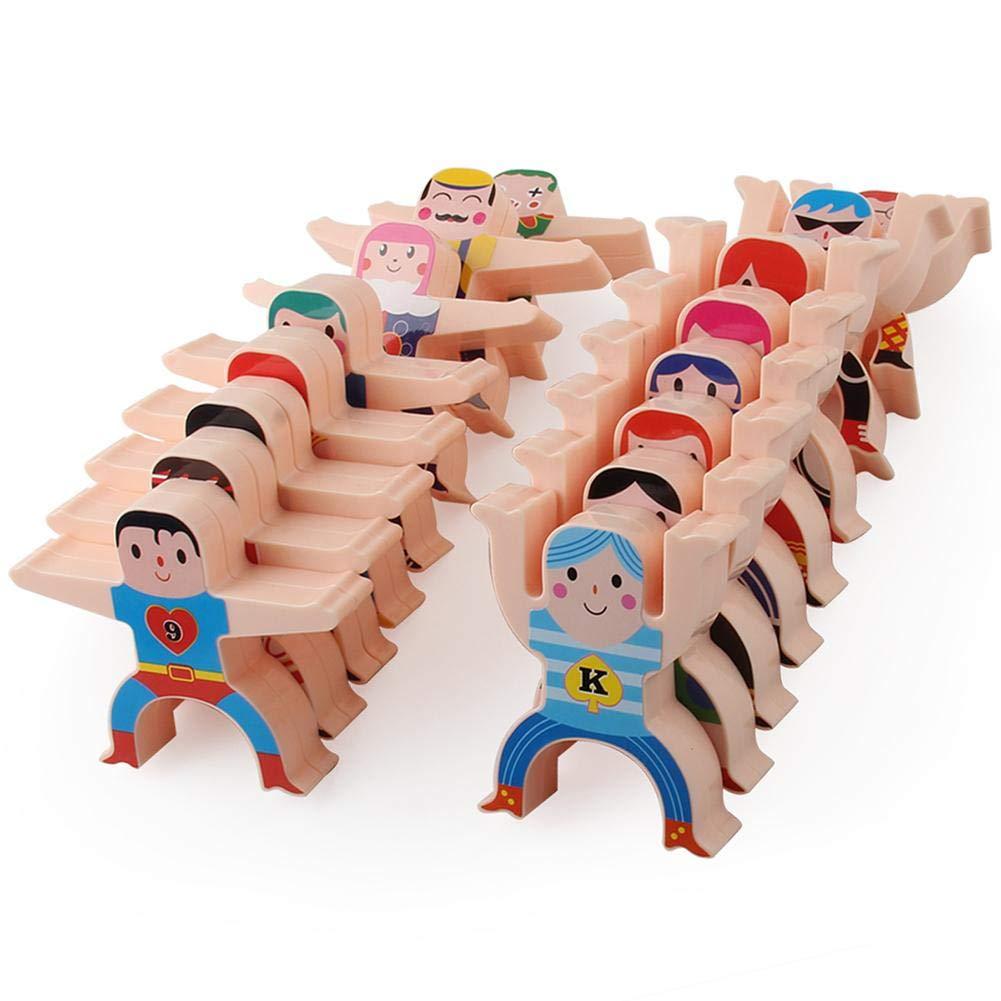 16Pcs Wooden Balance Blocks,Balancing Stacking Game Rock Blocks for Kids Educational Toys,Hercules Acrobatic Troupe Interlock Toddler Educational Toys Kung Fu Boys