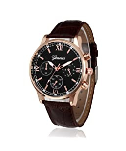 COOKI Mens Quartz Watch, Unique Analog Business Casual Fashion Wristwatch, Watches with Round Dial Case,Comfortable PU Leather Band-W12 (Brown)