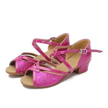 ccfda815b546 Amazon.com   Children Girls Kids Soft Soles Low Heels Dancing Shoes  Ballroom Tango Latin Shoes (25