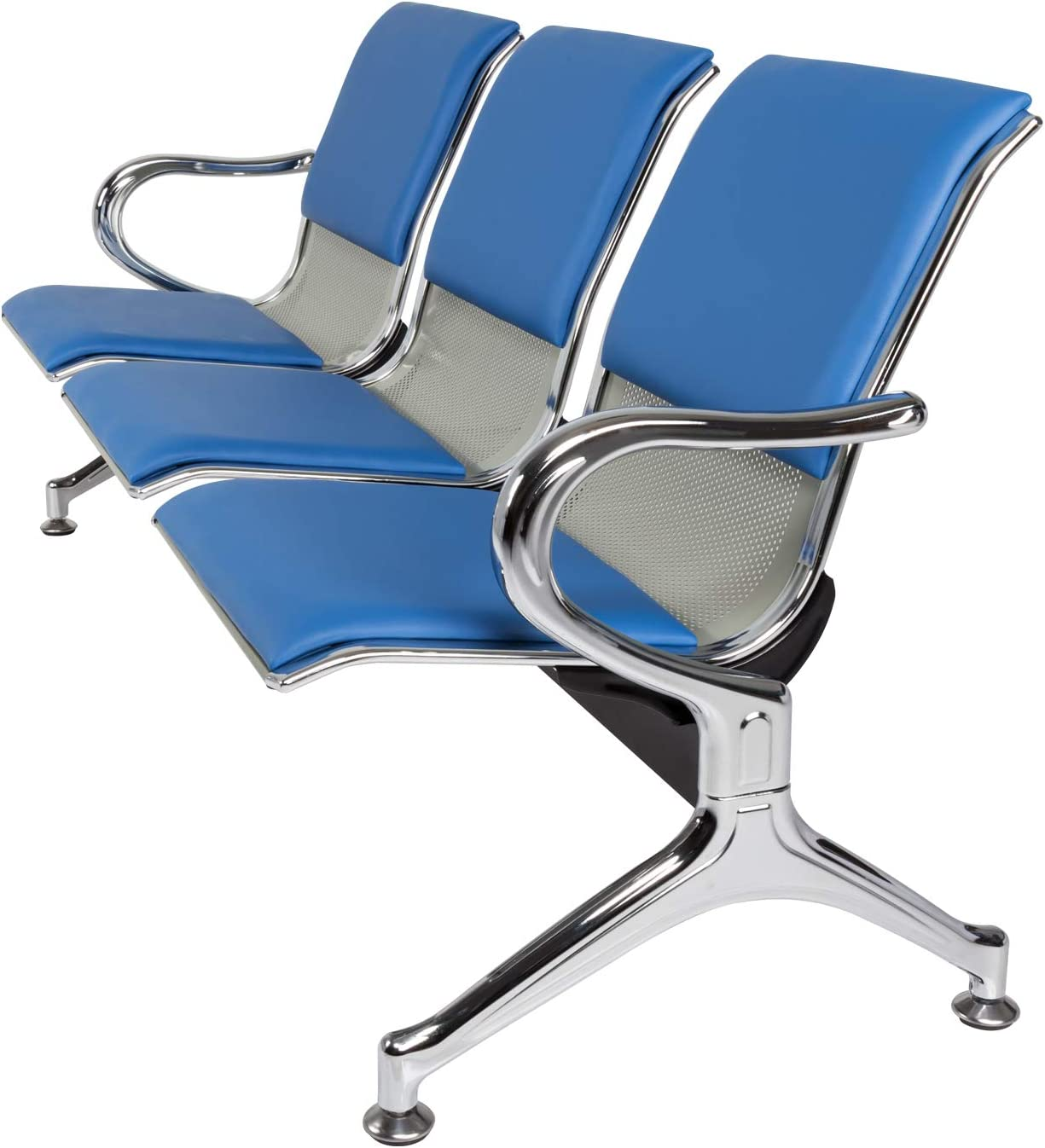 Lobby Bench Seating Waiting Room Chairs with Arms 3-Seat PU Leather Reception Area Airport Bench