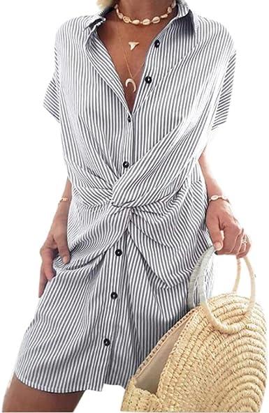 Vestido Camisero Corto a Rayas de Verano para Mujer: Amazon.es: Ropa y accesorios