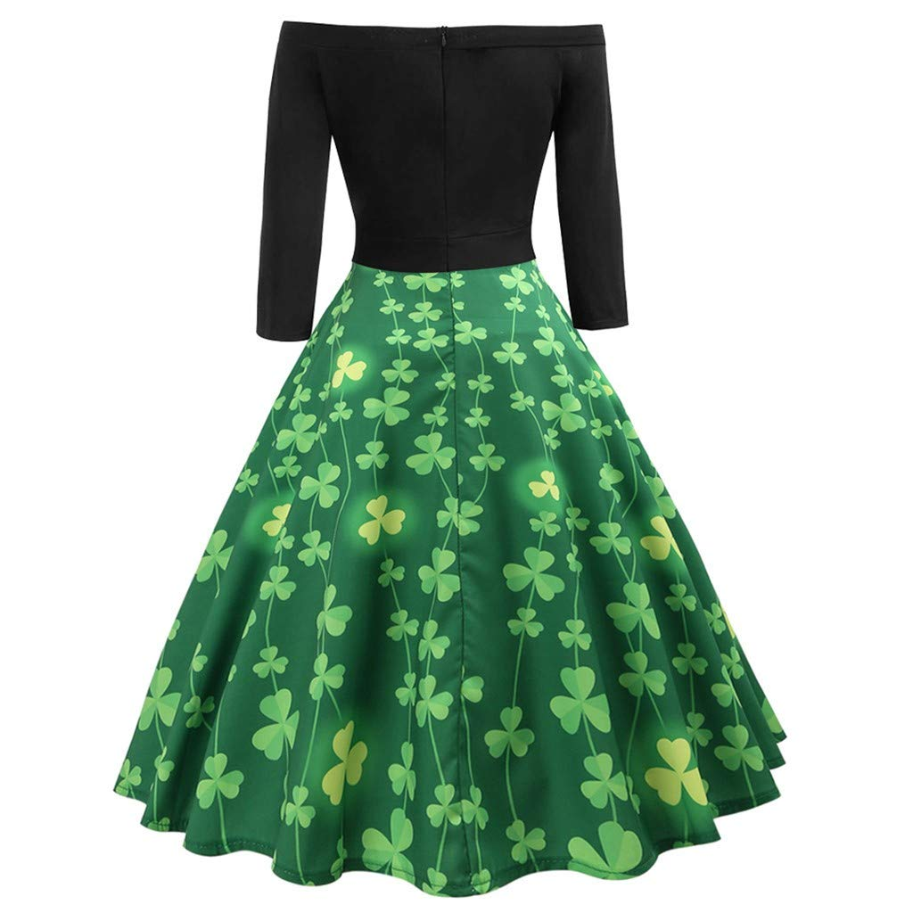 WUDUBE Dressing for Women Party Club Evening Gown Fluffy Plus Size Ladies Novelty Swing Bridesmsid St Patricks Day Sleeveless Casual Party Club Evening Prom Swing Dress Green