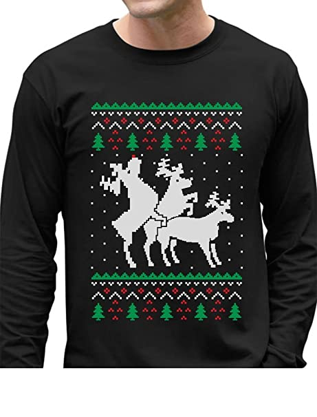 de46c3a62 Amazon.com: Funny Ugly Christmas Sweater Party Humping Reindeer Long Sleeve  T-Shirt: Clothing