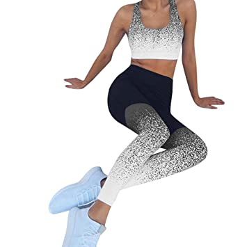 7ca2ea4284 Charberry Womens Gradient Yoga Tight Trousers Sports Yoga Workout High  Waist Running Fitness