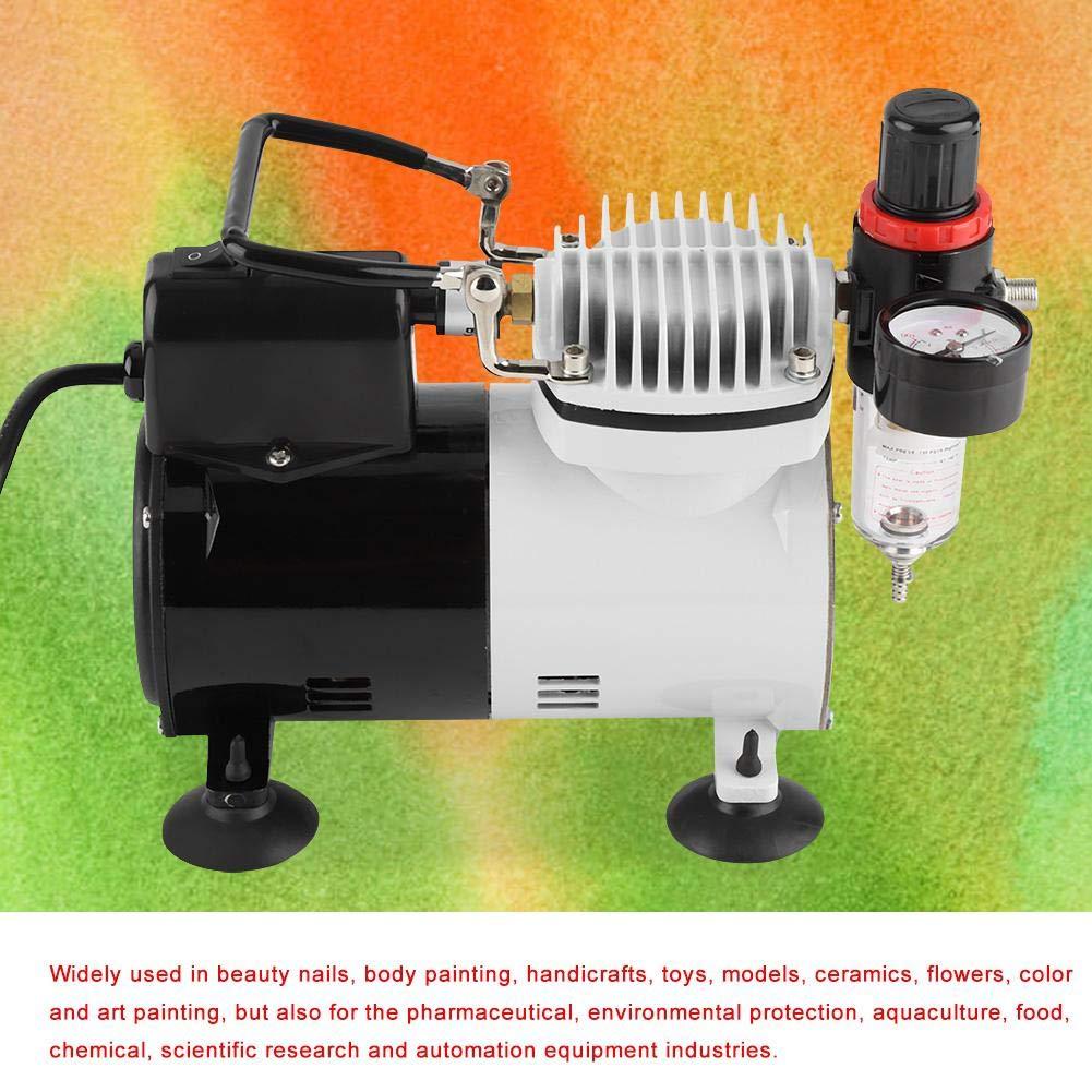 ger/äuschloser Druckluftkompressor Kunst f/ür Tattoo Malerei Airbrush-Kit Spray-Set Hochdruckpumpe UK-Stecker Doppelwirkung 230 V Manik/üre