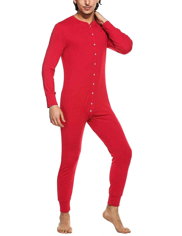 MAXMODA Mens Long Thermal Union Suit Button Down Pajamas S-XXL