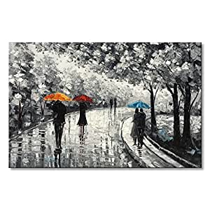 Black and White Canvas Wall Art Umbrella Hand Painted Oil Painting Forest Modern Romantic People Landscape Picture Orange Blue Home Decor Ready to Hang Framed 30x40