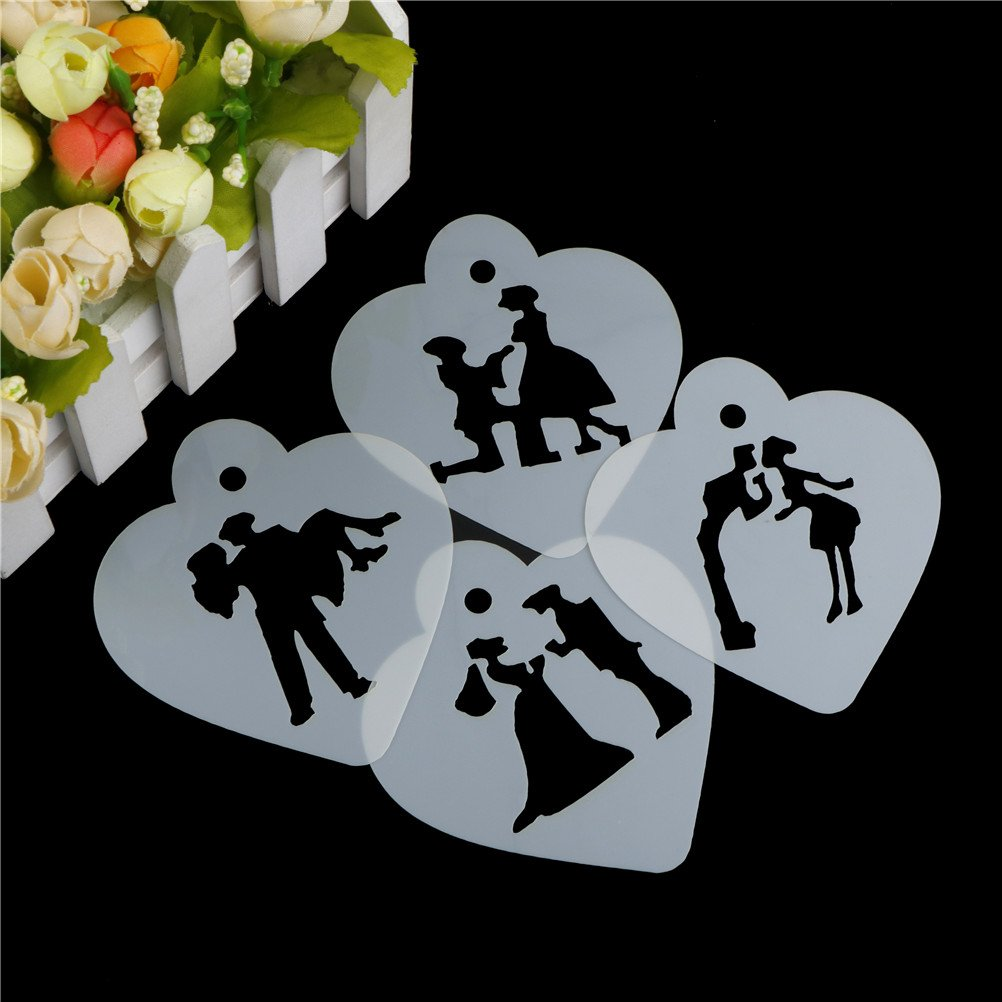 EASYG Creative Wedding Decoration Cake Stencil Couple Lovers Cookie Stencils Cake Template