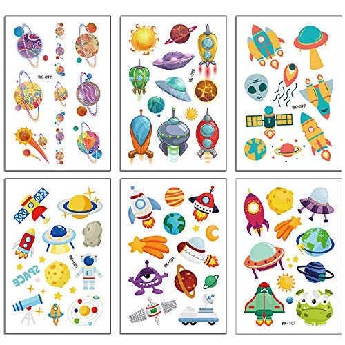 400 Pieces Spaceship Alien Temporary Tattoos for Kids, Outer Space Planet Fake Tattoo Stickers for Boys and Girls, Nice Kids Birthday Party Favors]()