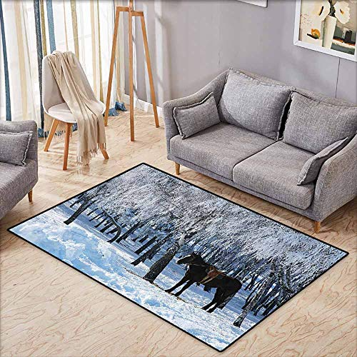 Classroom Rug,Equestrian Decor,Horse Between Trees in Winter Forest Frozen Woods ICY Land Nature Picture,Extra Large Rug,4'11